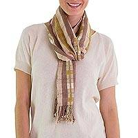 Cotton scarf, 'Brown Pink Maya' - Cotton scarf