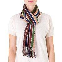 Cotton scarf, 'Blue Brown Harmony' - Cotton scarf