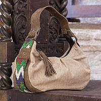 Leather accent cotton baguette handbag, 'San Juan Brown' - Leather accent cotton baguette handbag