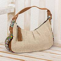 Leather accent cotton baguette handbag, 'San Juan' - Leather accent cotton baguette handbag