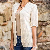 Cotton cardigan sweater, 'Casual Cream' - Cotton cardigan sweater