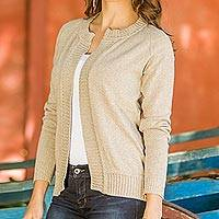Cotton cardigan sweater, 'Asymmetrical' - Hand Crafted Women's Cardigan Sweater