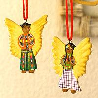 Ceramic ornaments, 'Angelic Guatemala' (set of 6) - Ceramic ornaments (Set of 6)