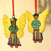 Ceramic ornaments, 'Guatemala Angels' (set of 6) - Ceramic ornaments (Set of 6)