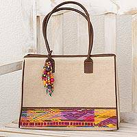 Leather accent cotton tote, 'Beads of San Juan' - Cotton Tote Bag from Central America