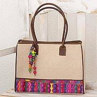 Leather accent cotton tote bag, 'Beads of San Pedro' (Guatemala)