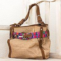 Leather accent cotton hobo bag, 'San Pedro Coffee' - Handcrafted Leather and Cotton Shoulder Bag