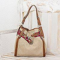 Leather accent cotton hobo bag, 'Santa Maria'