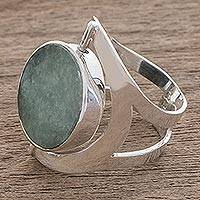 Reversible jade cocktail ring, 'Dual Spirit' - Handmade Modern Reversible Jade Cocktail Ring
