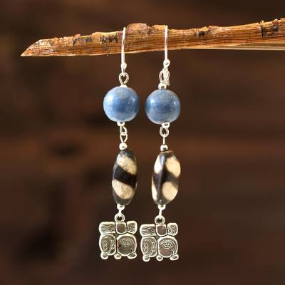 Ceramic dangle earrings, 'Nahual Destiny' - Ceramic dangle earrings