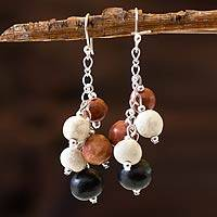 Ceramic beaded earrings, 'Sun of Azacualpa' - Women's Ceramic Bead Cluster Earrings
