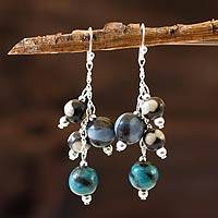 Ceramic beaded earrings, 'Azacualpa Water' - Ceramic Beaded Dangle Earrings