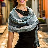 Rayon chenille shawl, 'Gray Ethereal Inspiration' - Fair Trade Hand-Woven Women's Bamboo Shawl