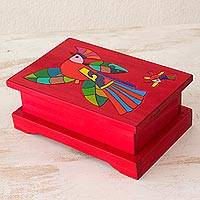 Wood decorative box, 'Cheerful Parrot' - Wood decorative box