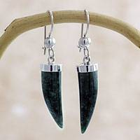 Jade dangle earrings, 'Forest Cat' - Artisan Crafted Sterling Silver Dark Green Jade Earrings