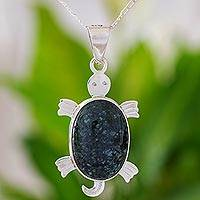 Jade pendant necklace, 'Dark Marine Turtle' - Jade pendant necklace
