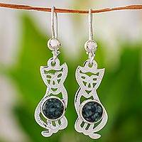 Jade dangle earrings, 'Mystic Green Cats' - Jade dangle earrings