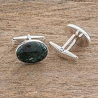 Men's jade cufflinks, 'Royal Green' - Men's jade cufflinks