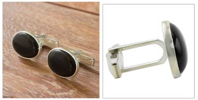 Men's black jade cufflinks, 'Royal Treasure' - Men's black jade cufflinks