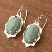 Jade dangle earrings, 'Flowing Beauty' - Jade Jewelry Handmade Sterling Silver Earrings