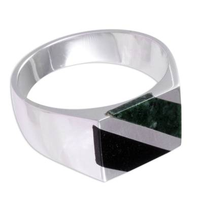 Artisan Crafted Black and Green Jade Inlay Modern Men