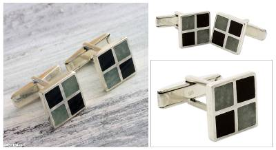 Jade cufflinks, 'Royal Maya' - Handcrafted Jade Inlay Cufflinks