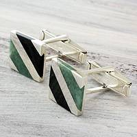 Jade cufflinks, 'Lord of the Land' - Sterling Silver and Jade Inlaid Men's Cufflinks