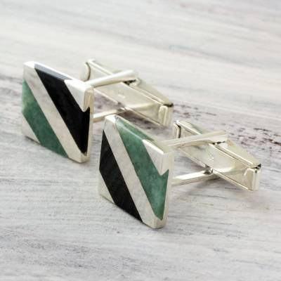 Jade cufflinks, 'Lord of the Land' - Artisan Crafted Black and Green Jade Inlay Modern Cufflinks