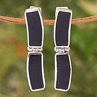 Jade dangle earrings, 'Nocturnal Elegance' - Black Jade Rectangular Earrings Sterling Silver Jewelry