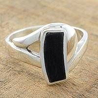 Jade cocktail ring, Nocturnal Elegance - Black Jade on Sterling Silver Cocktail Ring from Guatemala