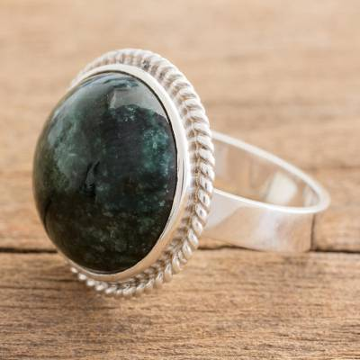 Jade cocktail ring, 'Green Mystery' - Hand Crafted Dark Green Jade Ring