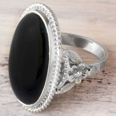 black silver engagement rings - Hand Crafted Floral Black Jade Ring