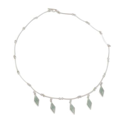 Light Green Jade on Handmade Sterling Silver Necklace
