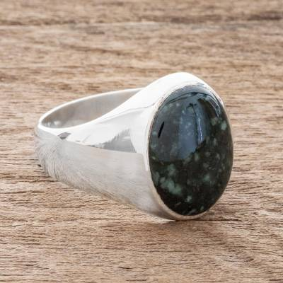 Men's jade ring, 'Royal Green' - Men's Jade Signet Ring