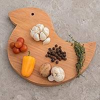 Wood cutting board, 'Happy Duck' - Fair Trade Natural Wood Chopping Board