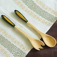 Wood salad serving set, 'Golden Maize' (pair) - Fair Trade Wood Serving Utensils