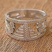 Sterling silver ring, 'Quetzales of Tikal' - Men's sterling silver ring