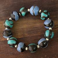 Ceramic stretch bracelet, 'Azacualpa Caribbean' - Ceramic stretch bracelet