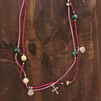 Featured review for Leather and ceramic necklace, Purple Sihua