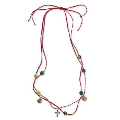 Leather and ceramic necklace