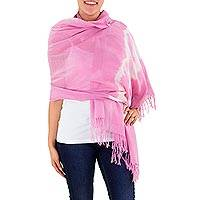 Cotton shawl, 'Pink Nebula' - Hand Made Cotton Pink And White Tie Dyed Wrap