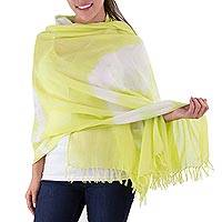 Cotton shawl, 'Lemon-Lime Nebula' - Cotton shawl