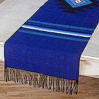 Cotton table runner, 'Blue Totonicapan Sun' - Cotton table runner