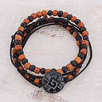 Men's jade and ceramic bracelets, 'Hunab Ku's Protection' (set of 3) - Men's Ceramic and Wood Stretch Jade Bracelet (Set of 3)