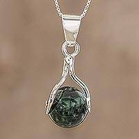 Jade pendant necklace, 'Dark Maya World' - Hand Made Modern Sterling Silver Pendant Jade Necklace
