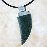 Men's light green jade pendant necklace, 'Wide Jaguar Fang' - Men's light green jade pendant necklace