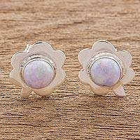 Jade button earrings, 'Lilac Clover' - Jade button earrings