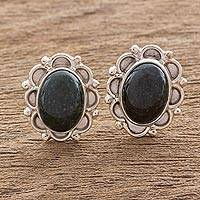 Featured review for Jade button earrings, Dark Green Princess of the Forest