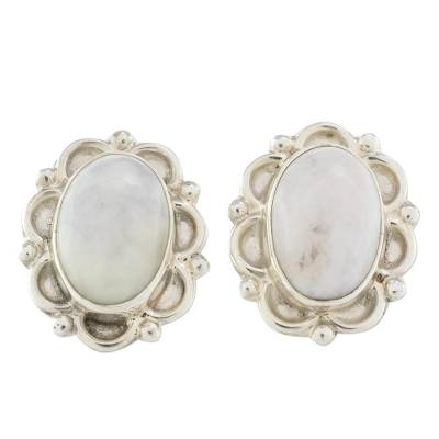 Floral Sterling Silver Button Jade Earrings