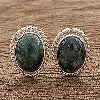 Jade stud earrings, 'Dark Mystique' - Jade stud earrings